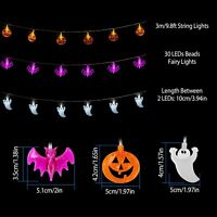 Halloween 30 LED String Lights Pumpkin/Ghost/Bat Fairy Lights Party Home Decor