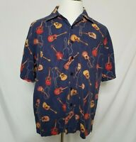 David Carey Originals Mens XL Button Front Shirt Acoustic Guitars Short Sleeve