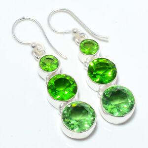 """Green Amethyst & Peridot Handmade 925 Silver Earring Jewelry 1.68"""" S1964"""