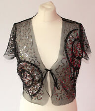 Autograph Black Sequin Mesh Bolero Shrug Party Vintage Inspired Sheer Floral 12