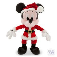"Disney Parks Christmas Plush Mickey Mouse New 9"" Retro Santa NWOT"