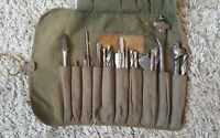 Vintage Tool roll of 26 Auger drill bits etc