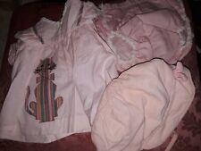 """Vtg Baby Top Dress/Plastic Pants/Bonnet 1960 lot/3 Pink Cat Applique """"Nanette"""""""
