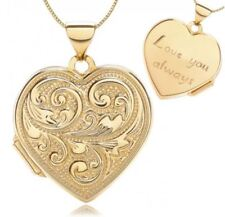 375 9ct Yellow Solid Gold Love Heart Locket Pendant Holds 2 Pictures