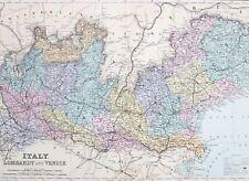 1887 ANTIQUE MAP ITALY LOMBARDY & VENICE VERONA SONDRIO MILAN