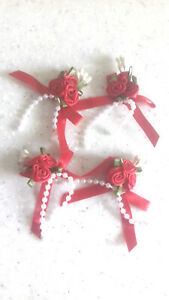 4 Red Triple Rose Ribbon Bows with Pearl Bead Trim