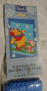 Disney Winnie The Pooh Christmas Holiday Snowflake Large Flag 28 x 40