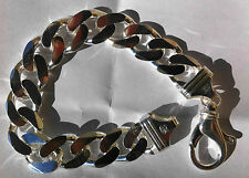 "Mens Bracelet Sterling Silver 925 Curb Link 14.3 MM Wide 9"" 67 Grams Approx."
