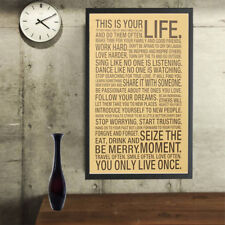 NEW This Is Your Life Motivational Quote Retro Poster Print 74x45cm Wall Sticker