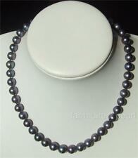 "Long 20"" Inch Genuine 8-9mm ROUND Black Pearl Necklace Cultured Freshwater"