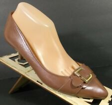 a689cf521 NINE WEST Women`s Brown Leather Slip On Pumps Pointy Toe Buckle Shoes 9 M