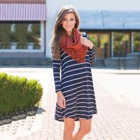 Womens Long Sleeve Tunic Mini Dress Top Casual Loose T-Shirt Blouse Tops Dresses