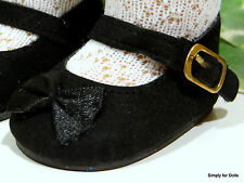 """BLACK Velvet Mary Janes w/ Bow DOLL SHOES fits 18"""" AMERICAN GIRL Doll Clothes"""