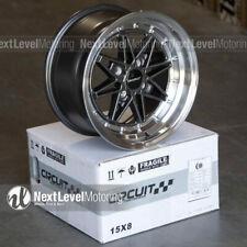 Circuit CP24 15×8 4-100 +25 Gun Metal Wheels Fits Mazda Miata E30 Equip 03 Style