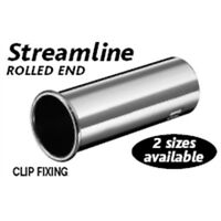 Large Silver Stainless Steel Streamline Rolled End Exhaust Tip - Outward