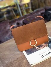 Crossbody Leather Flap Bag with Decorated Chain Black Purple Handbag Satchel