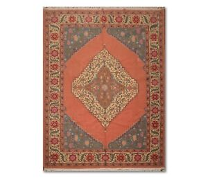 9' x 12' Hand Knotted Romanian Hamadaan 100% Wool Traditional Area Rug Tea Rose