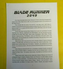 Blade Runner 2049 movie production notes 45 pages