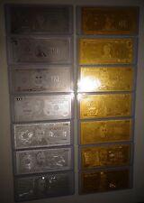 14 GOLD & SILVER DOLLAR BILL SET $1-2-5-10-20-50-100 & EACH IN PVC BILL HOLDER.