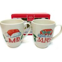 New LENOX Set of (2) Mr & Mrs Santa Claus Christmas Holiday 14oz Mugs Great Gift