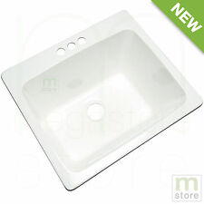 Utility Sink Stain Resistant Laundry Tub Room Basin Bowl 3-Hole Faucet White