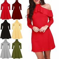 Womens Ladies Cold Cut Shoulder Peplum Frill Ribbed Swing High Halter Neck Dress