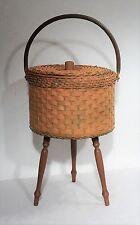 Vintage Shabby chic Loom Nähkasten Utensilienbox Nähkorb Kleinteile Box ~60er