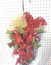 Christmas Door/Package Decorations/Wreath Double Red Amaryllis Berries Feather