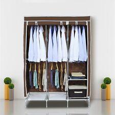 XL Larger Portable Canvas Wardrobe Hanging Rail Storage Space 5 Shelves