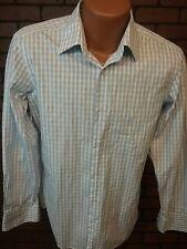 Hugo Boss Mens Shirt Sz 15/38 Button Front Long Sleeve Reg Fit Blue Plaid  D3-16