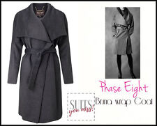 PHASE EIGHT • BRUNA WRAP COAT • GREY • WOOL MIX • SLOUCHY • WIDE LAPELS • 12-14