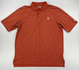 Under Armour Mens Golf Polo Short Sleeve Shirt Orange Striped Size Large