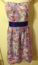 New Retro Vintage Pinup Forever 21 Sweetheart Purple Floral Strapless Dress 1x
