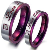 Stainless Steel Love Token Couples Wedding Band Zircon Engagement Promise Ring