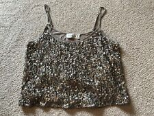 Abercrombie and Fitch Gold Sequined Crop Top, Women's Size Small Bling Sparkle