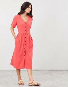 Joules Womens Jessica Short Sleeve Dress With Patch Pockets - Poppy - 14
