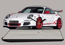 VEHICULE DE SPORT PORSCHE 911 GT3 RS-05 EN HORLOGE MINIATURE SUR SOCLE