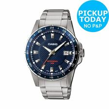 Casio Men's Silver Stainless Steel Bracelet Blue Dial Classic Analogue Watch