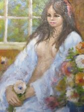 "Large Vintage Oil Painting On Canvas Impasto Nude ""Holding A Flower"""
