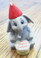 Hallmark Merry Miniatures 1990 Happy Birthday Elephant With Cake And Hat