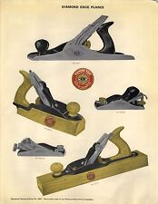 1923 Paper AD COLOR Plane TOOL Diamond Edge Block Wood 5 Images Chisels