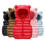 New Baby Kids Boys Girls Cotton Down Vest Jacket Hooded Warm Waistcoat Coat Gift