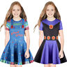 Kids Girls Swing Pleated Skater Dress Short Sleeve Summer 3D Print Party Outfit