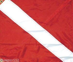 """Diver Down Flag 24"""" x 20"""" Nylon Grommets Dive flag Scuba Diving"""