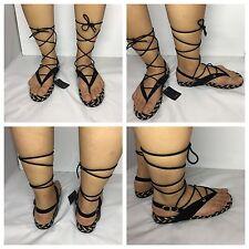 Zara Black Lace Up Gladiators Strappy Flat Contrast Sandals Size UK 5