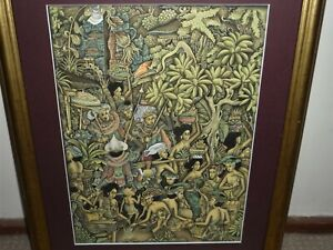 VINTAGE INTRICATE BALINESE PAINTING SIGNED BY THE ARTIST & DATED 2002