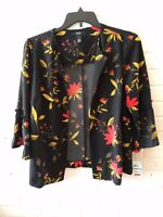 New Alfani Women's Knit Top Black/Floral Multi Open Front Party Sleeve 0X G20