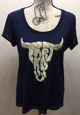 New True Religion Women T-shirt Short Sleeve Navy Blue Sample Logo Bull Print Sm