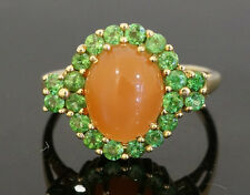 9ct Yellow Gold Peach Moonstone & Russian Diopside Cluster Size O 1/2 (16x13mm)