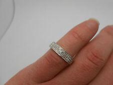 Stunning 750 18k White Gold Pave Set Diamond Full Eternity Band Ring Size 6